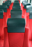 Rows of red seats in train Royalty Free Stock Photo
