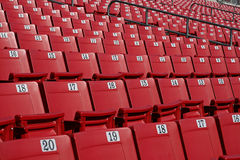 Rows of red stadium seating. With assigned seat numbers stock photo
