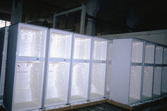 Rows of refrigerators. Without doors Stock Images