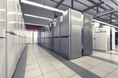 Rows of refrigerators in appliance store stock image