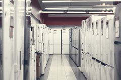 Rows of refrigerators in appliance store royalty free stock photos