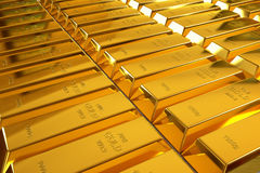 Rows of rendered gold bars Royalty Free Stock Photography