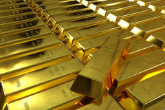 Rows of rendered gold bars Stock Photography