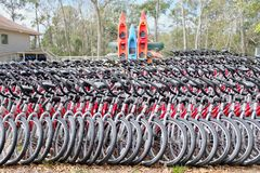 Rows of Rental Bicycles for Green Transportation Stock Photography