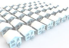 Rows and rows of identical modern houses. 3d render of modern houses in rows Stock Photo