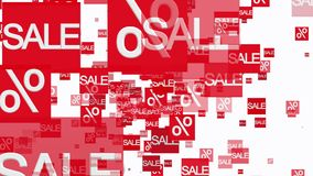Rows of sale and percent in red on white color stock video