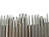 Rows of Screwdriver ADAPTERS Royalty Free Stock Photo