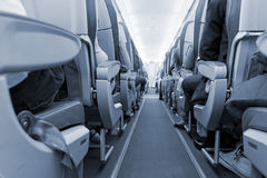 Rows of seats on airplane Stock Images