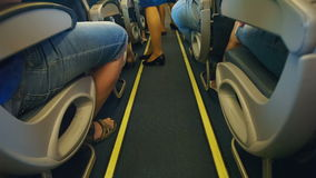 Rows of seats in airplane stock video
