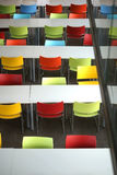 Rows of seats with colorful chairs Royalty Free Stock Photo