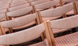 Rows of seats inside church, selective focus Stock Image
