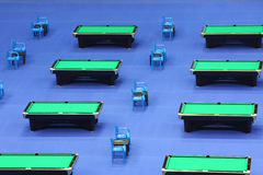 Rows of several billiard tables Royalty Free Stock Images