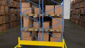 Rows of shelves with boxes. Commercial Warehouse. Royalty Free Stock Photo