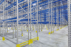 Rows of shelves in warehouse. Rows of shelves in new warehouse Stock Photos