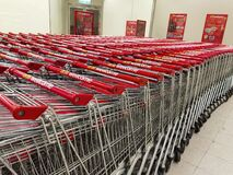 6 2 2021 Rows of shopping carts on car park near entrance of Wellcome, a major supermarket in Hong Kong
