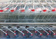 Rows of shopping carts Royalty Free Stock Image