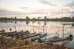 Rows of small boats Stock Image
