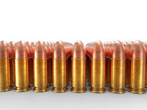 Rows of small caliber bullets Stock Image