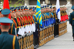 Rows of soldiers at ceremony of wreath laying Royalty Free Stock Image