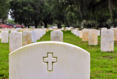 Soldiers tombstones on a national cemetery Royalty Free Stock Image