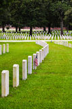 Soldiers tombstones on a national cemetery Royalty Free Stock Photos