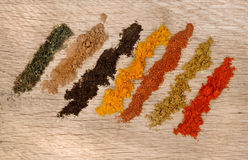 Rows of spices Stock Photography