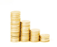 Rows of stack coins Stock Photo