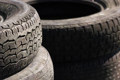 Rows of stacked tyres (2) Royalty Free Stock Photo