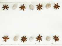 Rows of star anise and nutmeg on a rustic white table top Royalty Free Stock Images