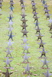 Rows Of Star Tombstone at cemetery, Gdynia, Poland Royalty Free Stock Photography