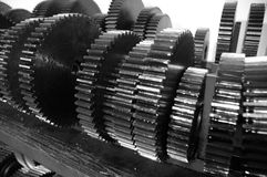 Rows of Steel Metal Gears for Use in Machines Machinery Stock Photo