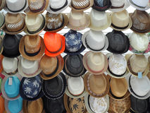 Rows of Straw Hats For Sale Stock Images