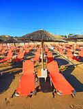 Rows of straw umbrellas Royalty Free Stock Images