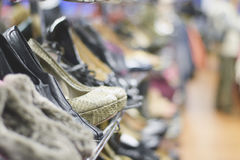 Rows of stylish women& x27;s shoes Royalty Free Stock Photo