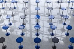 Rows of tall round tables Royalty Free Stock Image