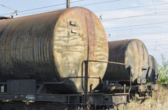 Tank cars rows Royalty Free Stock Image