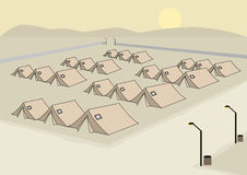 Rows of Tents concept for Army or Refugee Camp. Editable Clip Art. Royalty Free Stock Photo