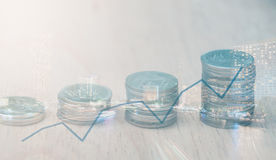 Rows of Thai coins Stock Photography