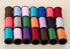 Rows of threads of diffrent colors. Three rows of threads of diffrent colors Royalty Free Stock Photo