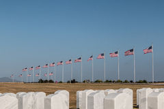 Rows of Tombstones and Flags at Miramar National Cemetery Stock Photo
