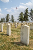 Rows of tombstones in Little Bighorn Battlefield National Monument Royalty Free Stock Photo