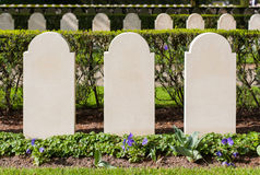 Rows of tombstones. Old graves from World War II Stock Photos