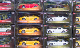 Rows of Toy Cars in Boxes Royalty Free Stock Image
