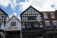 The Rows are Tudor Black and White Buildings in Chester the county city of Cheshire in England. Much of the architecture of central Chester looks medieval and royalty free stock images