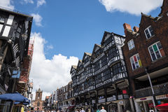 The Rows are Tudor Black and White Buildings in Chester the county city of Cheshire in England. Much of the architecture of central Chester looks medieval and stock photos