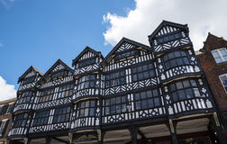 The Rows are Tudor Black and White Buildings in Chester the county city of Cheshire in England. Much of the architecture of central Chester looks medieval and royalty free stock photography