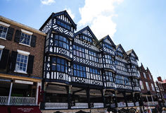The Rows are Tudor Black and White Buildings in Chester the county city of Cheshire in England. Much of the architecture of central Chester looks medieval and stock image