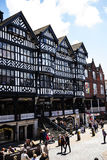 The Rows are Tudor Black and White Buildings in Chester the county city of Cheshire in England. Much of the architecture of central Chester looks medieval and royalty free stock photo