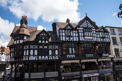 The Rows are Tudor Black and White Buildings in Chester the county city of Cheshire in England. Much of the architecture of central Chester looks medieval and stock photography
