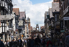 The Rows are Tudor Black and White Buildings in Chester the county city of Cheshire in England Stock Photography